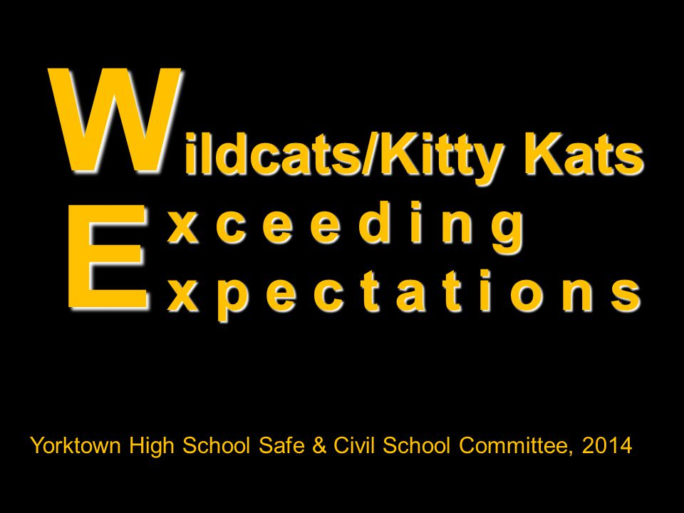 ildcats/Kitty Kats ildcats/Kitty Kats x c e e d i n g x p e c t a t i o n s W E Yorktown High School Safe & Civil School Committee, 2014