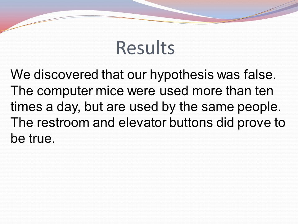 Results We discovered that our hypothesis was false.