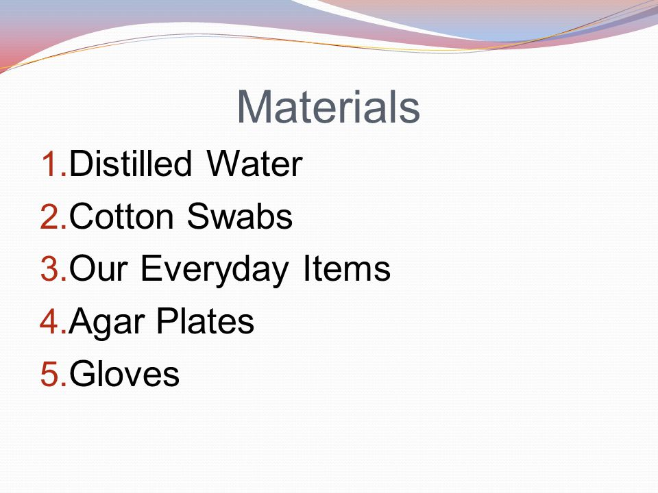 Materials 1. Distilled Water 2. Cotton Swabs 3. Our Everyday Items 4. Agar Plates 5. Gloves
