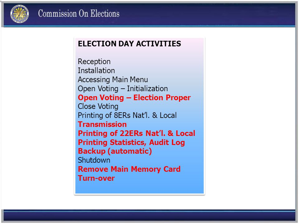 ELECTION DAY ACTIVITIES Reception Installation Accessing Main Menu Open Voting – Initialization Open Voting – Election Proper Close Voting Printing of