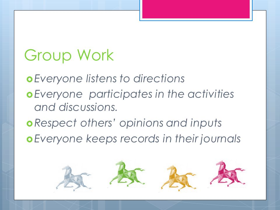Group Work  Everyone listens to directions  Everyone participates in the activities and discussions.  Respect others' opinions and inputs  Everyon
