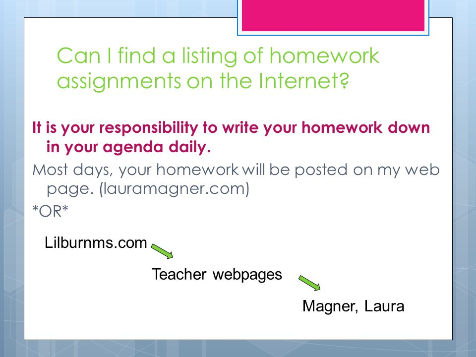 Can I find a listing of homework assignments on the Internet.