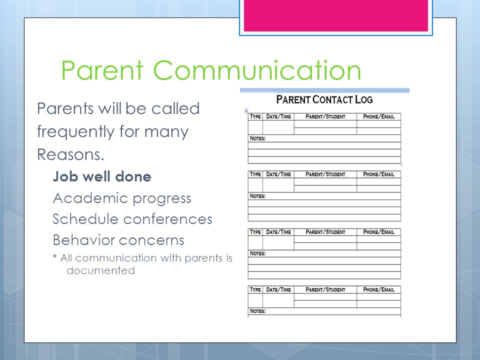 Parent Communication Parents will be called frequently for many Reasons. Job well done Academic progress Schedule conferences Behavior concerns * All