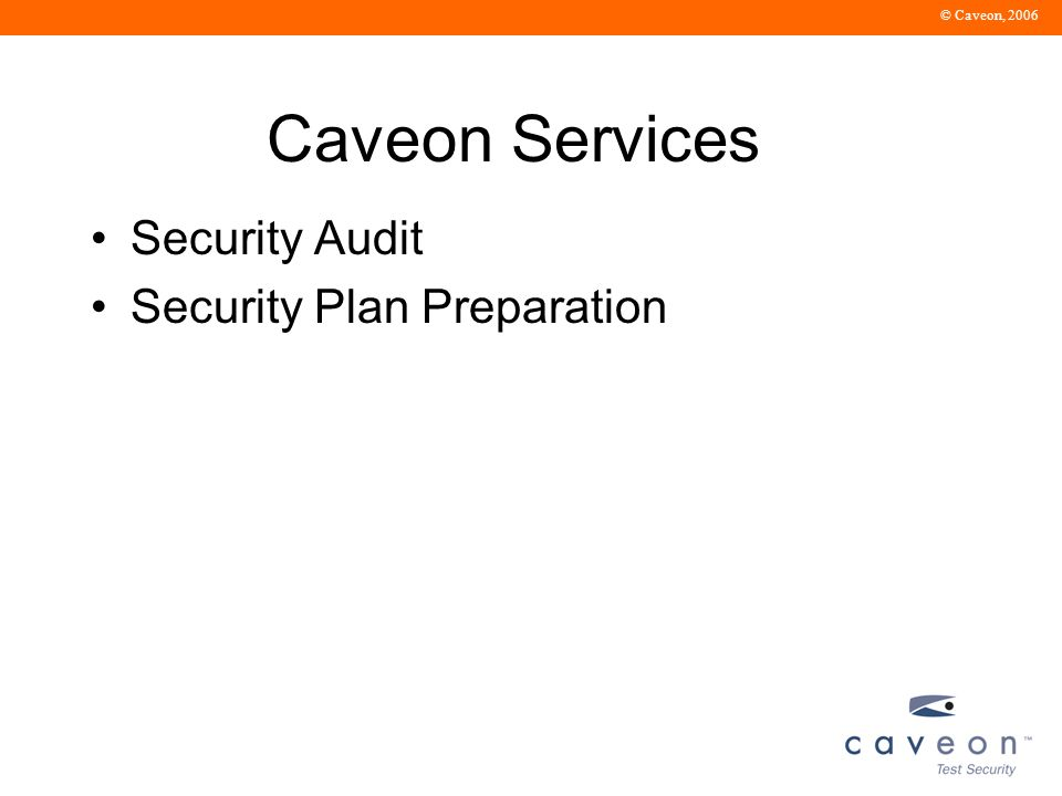 © Caveon, 2006 Caveon Services Security Audit Security Plan Preparation