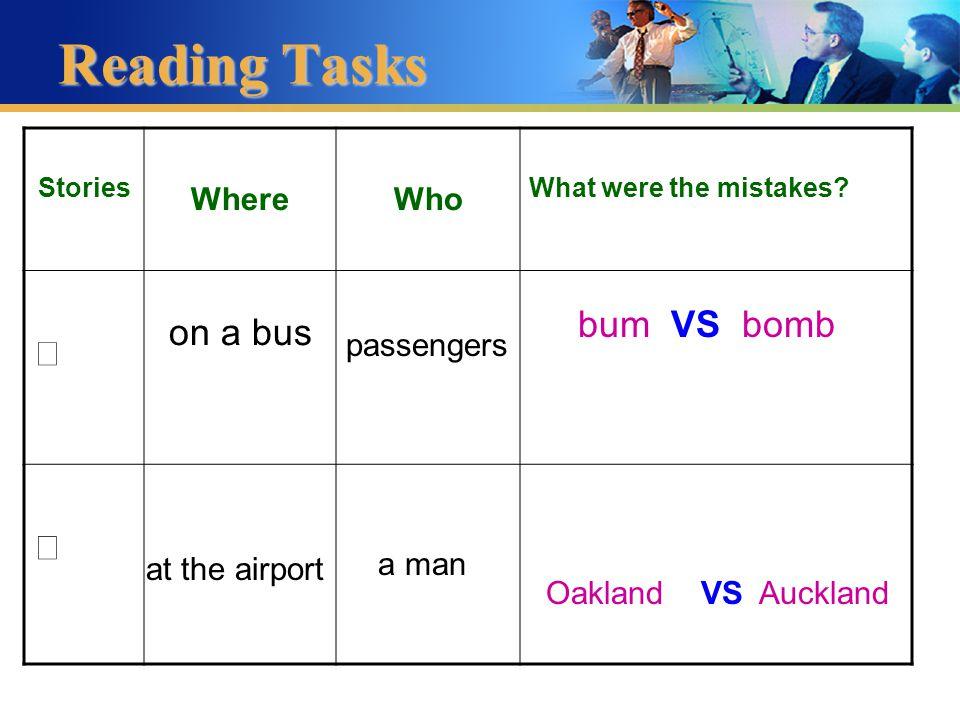 VS bomb bum Reading Tasks