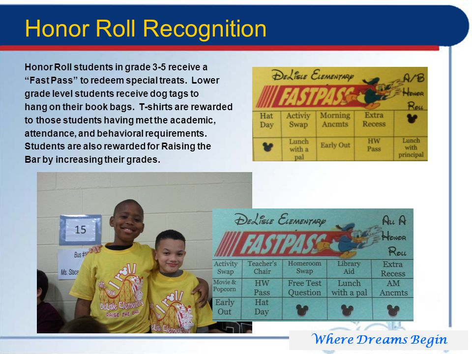 Honor Roll Recognition Honor Roll students in grade 3-5 receive a Fast Pass to redeem special treats.