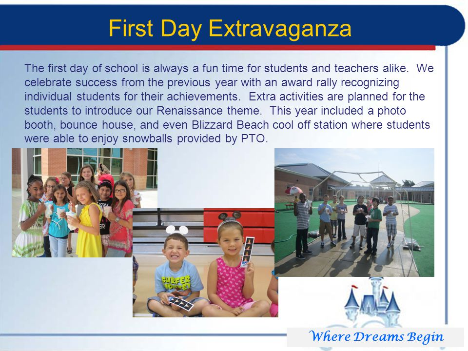 First Day Extravaganza The first day of school is always a fun time for students and teachers alike.