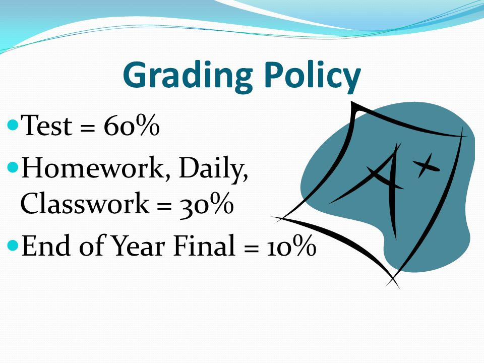 Grading Policy Test = 60% Homework, Daily, Classwork = 30% End of Year Final = 10%