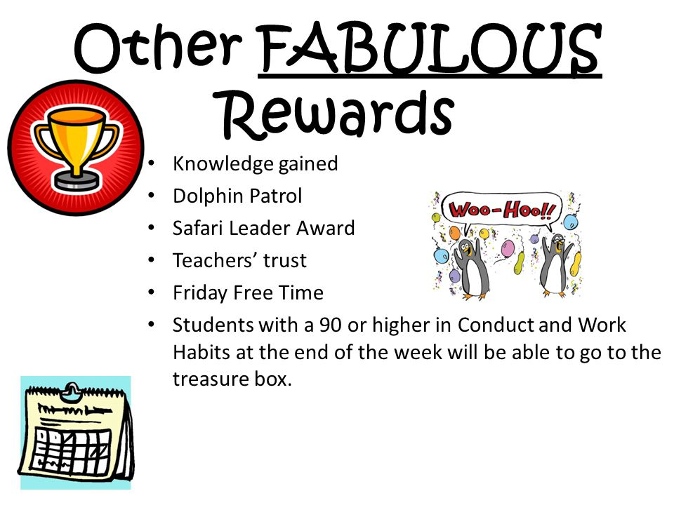 Other FABULOUS Rewards Knowledge gained Dolphin Patrol Safari Leader Award Teachers' trust Friday Free Time Students with a 90 or higher in Conduct an