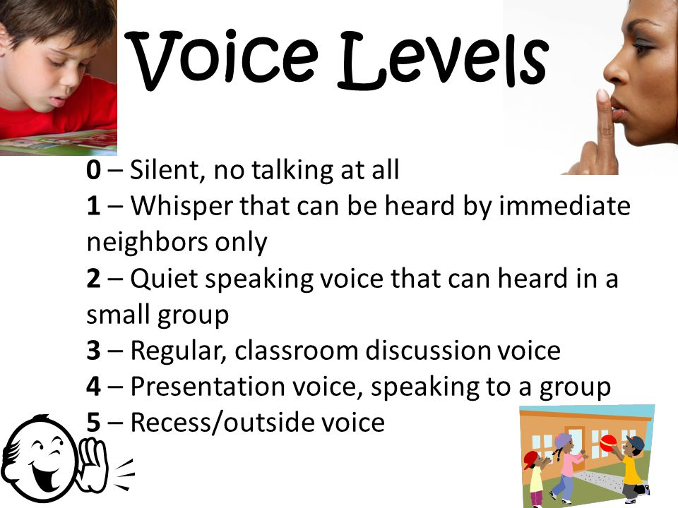 Voice Levels 0 – Silent, no talking at all 1 – Whisper that can be heard by immediate neighbors only 2 – Quiet speaking voice that can heard in a smal