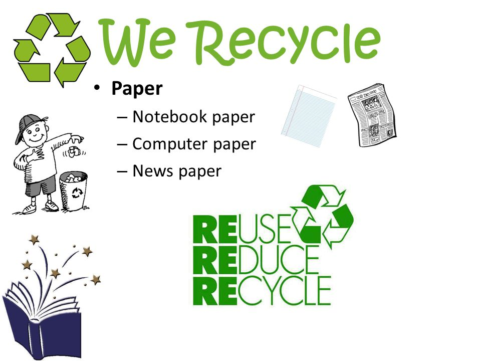 We Recycle Paper – Notebook paper – Computer paper – News paper