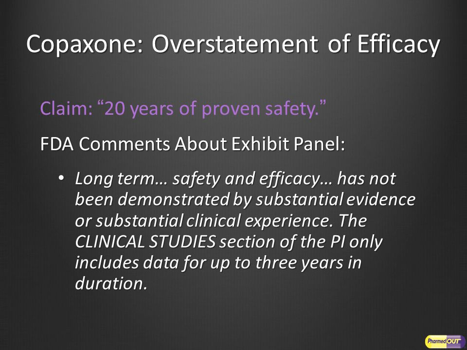Copaxone: Overstatement of Efficacy Claim: 20 years of proven safety. FDA Comments About Exhibit Panel: Long term… safety and efficacy… has not been demonstrated by substantial evidence or substantial clinical experience.