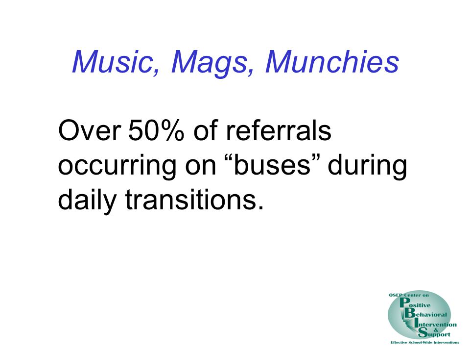 Music, Mags, Munchies Over 50% of referrals occurring on buses during daily transitions.