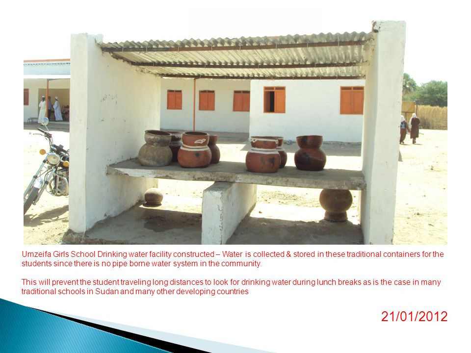Umzeifa Girls School Drinking water facility constructed – Water is collected & stored in these traditional containers for the students since there is no pipe borne water system in the community.