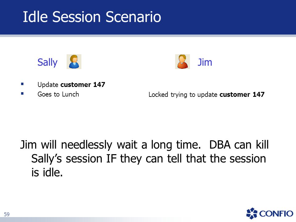 59 Idle Session Scenario JimSally  Update customer 147  Goes to Lunch Locked trying to update customer 147 Jim will needlessly wait a long time. DBA