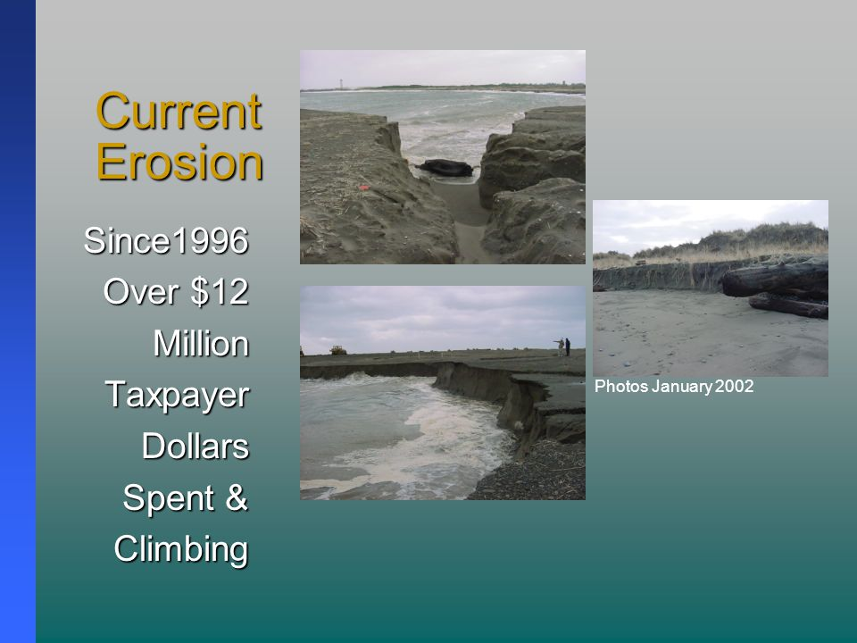 Current Erosion Since1996 Over $12 MillionTaxpayerDollars Spent & Climbing Photos January 2002