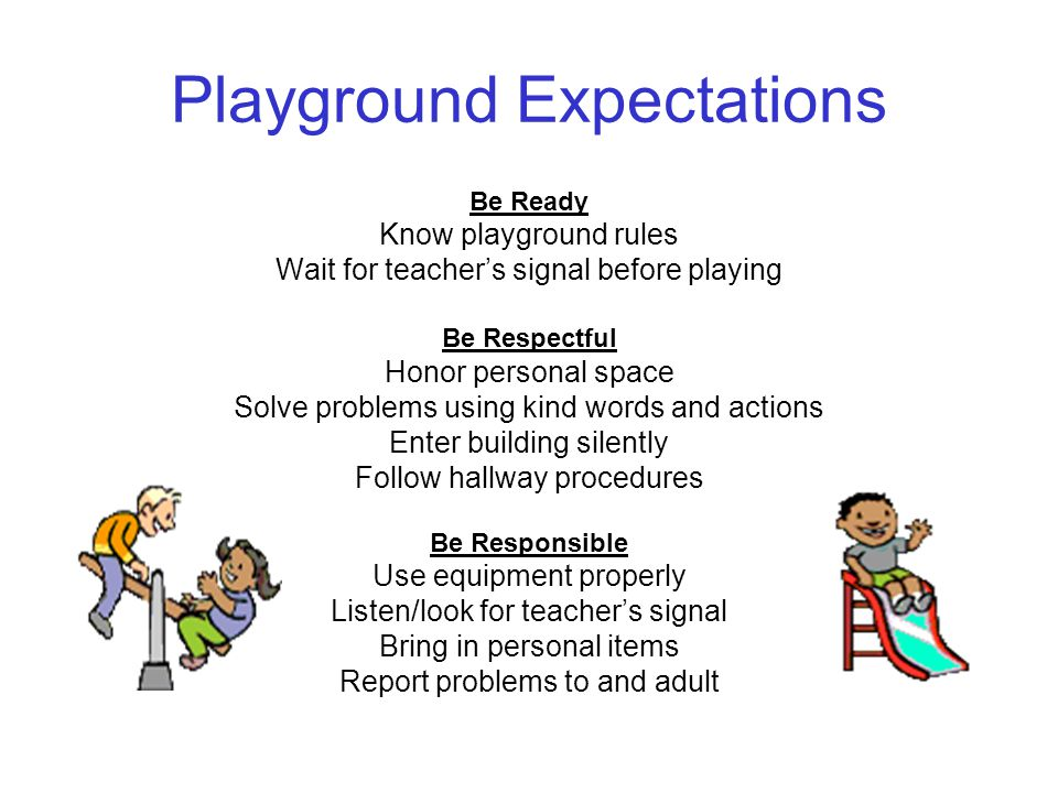 Playground Expectations Be Ready Know playground rules Wait for teacher's signal before playing Be Respectful Honor personal space Solve problems using kind words and actions Enter building silently Follow hallway procedures Be Responsible Use equipment properly Listen/look for teacher's signal Bring in personal items Report problems to and adult