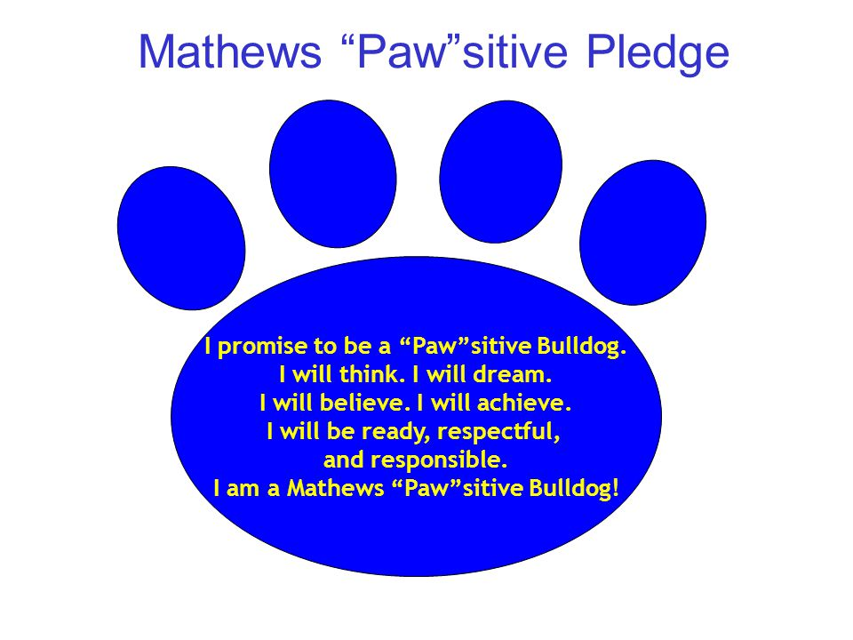 Mathews Paw sitive Pledge I promise to be a Paw sitive Bulldog.