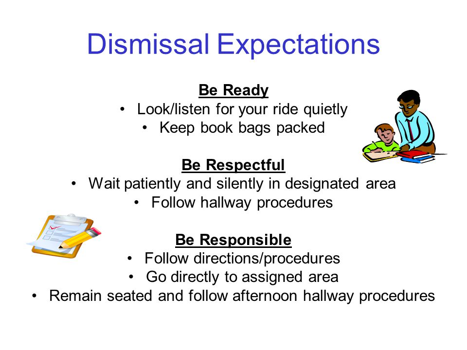 Dismissal Expectations Be Ready Look/listen for your ride quietly Keep book bags packed Be Respectful Wait patiently and silently in designated area Follow hallway procedures Be Responsible Follow directions/procedures Go directly to assigned area Remain seated and follow afternoon hallway procedures