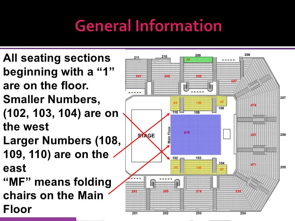General Information All seating sections beginning with a 1 are on the floor.
