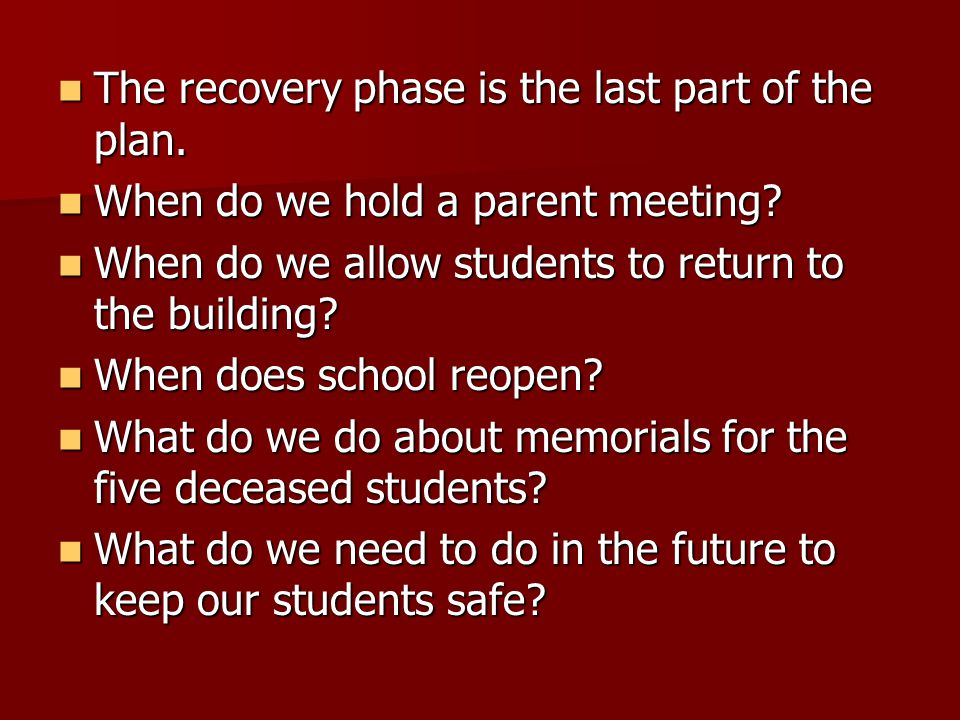 The recovery phase is the last part of the plan. The recovery phase is the last part of the plan.
