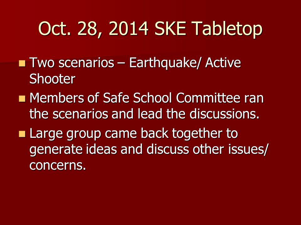 Oct. 28, 2014 SKE Tabletop Two scenarios – Earthquake/ Active Shooter Two scenarios – Earthquake/ Active Shooter Members of Safe School Committee ran