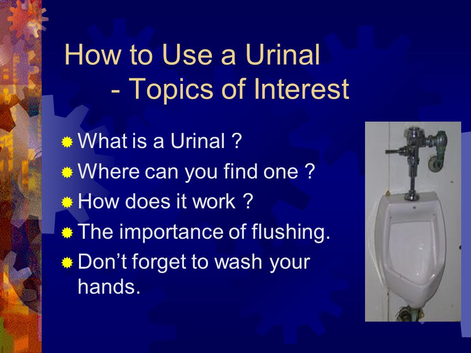How to Use a Urinal - Topics of Interest  What is a Urinal .