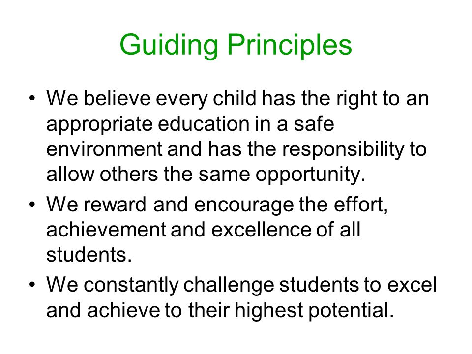 Guiding Principles We believe every child has the right to an appropriate education in a safe environment and has the responsibility to allow others the same opportunity.