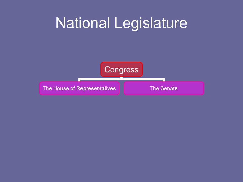 National Legislature Congress The House of Representative s The Senate