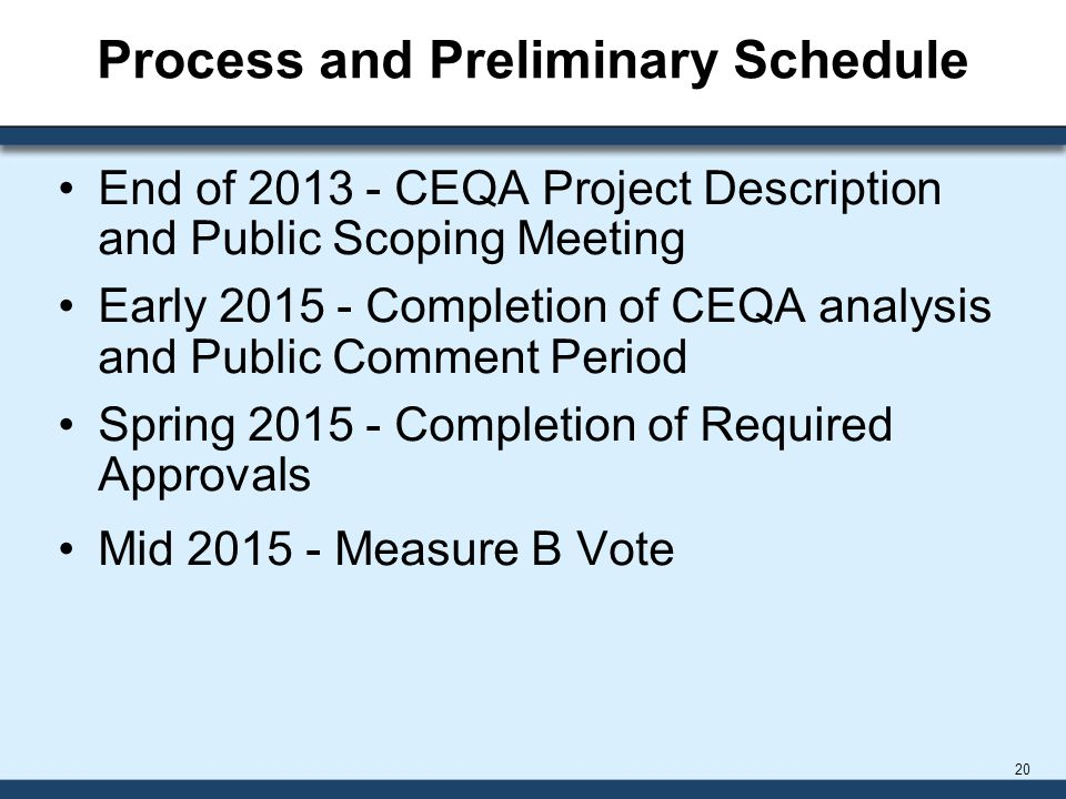 Process and Preliminary Schedule End of 2013 - CEQA Project Description and Public Scoping Meeting Early 2015 - Completion of CEQA analysis and Public Comment Period Spring 2015 - Completion of Required Approvals Mid 2015 - Measure B Vote 20