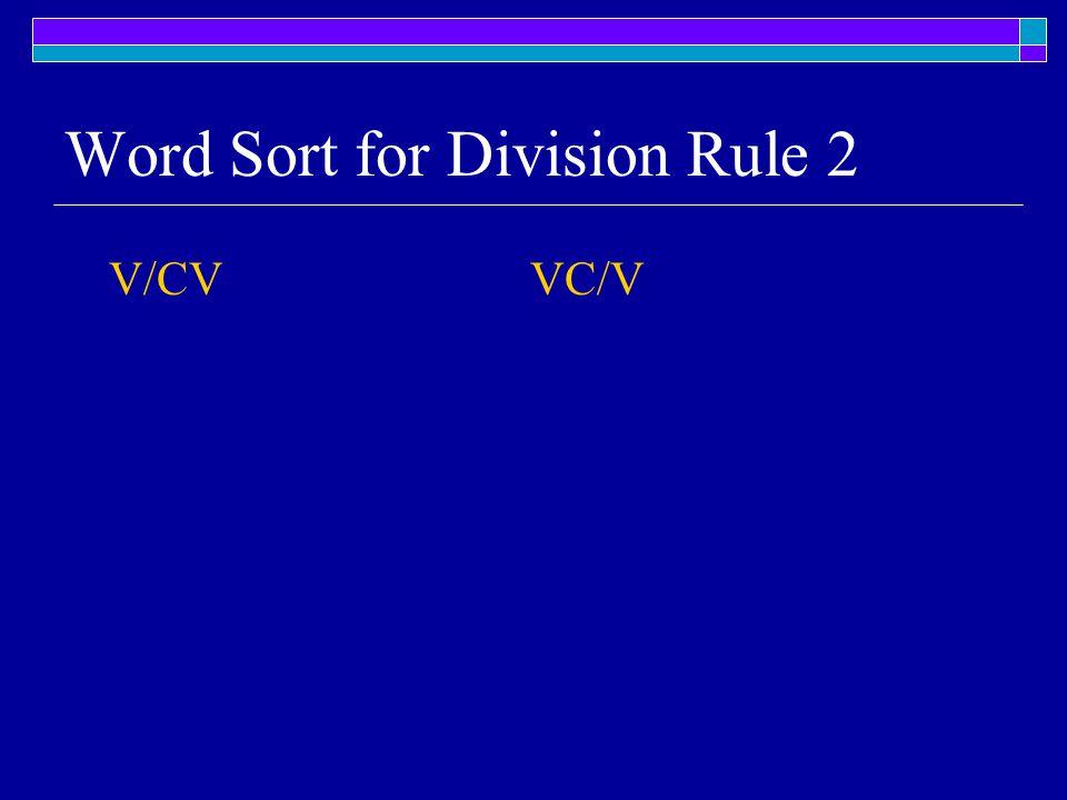 Word Sort for Division Rule 2 V/CV VC/V