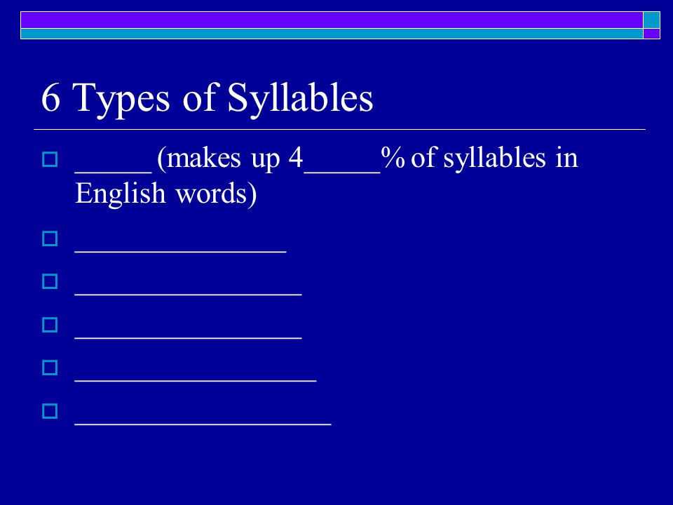 6 Types of Syllables  _____ (makes up 4_____% of syllables in English words)  ______________  _______________  ________________  ________________