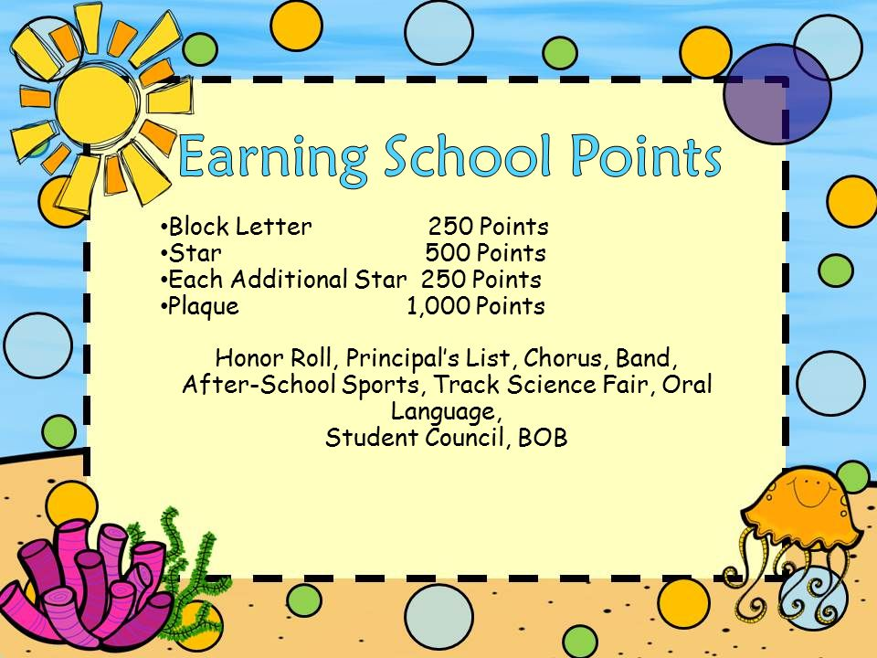 Block Letter 250 Points Star 500 Points Each Additional Star 250 Points Plaque 1,000 Points Honor Roll, Principal's List, Chorus, Band, After-School Sports, Track Science Fair, Oral Language, Student Council, BOB