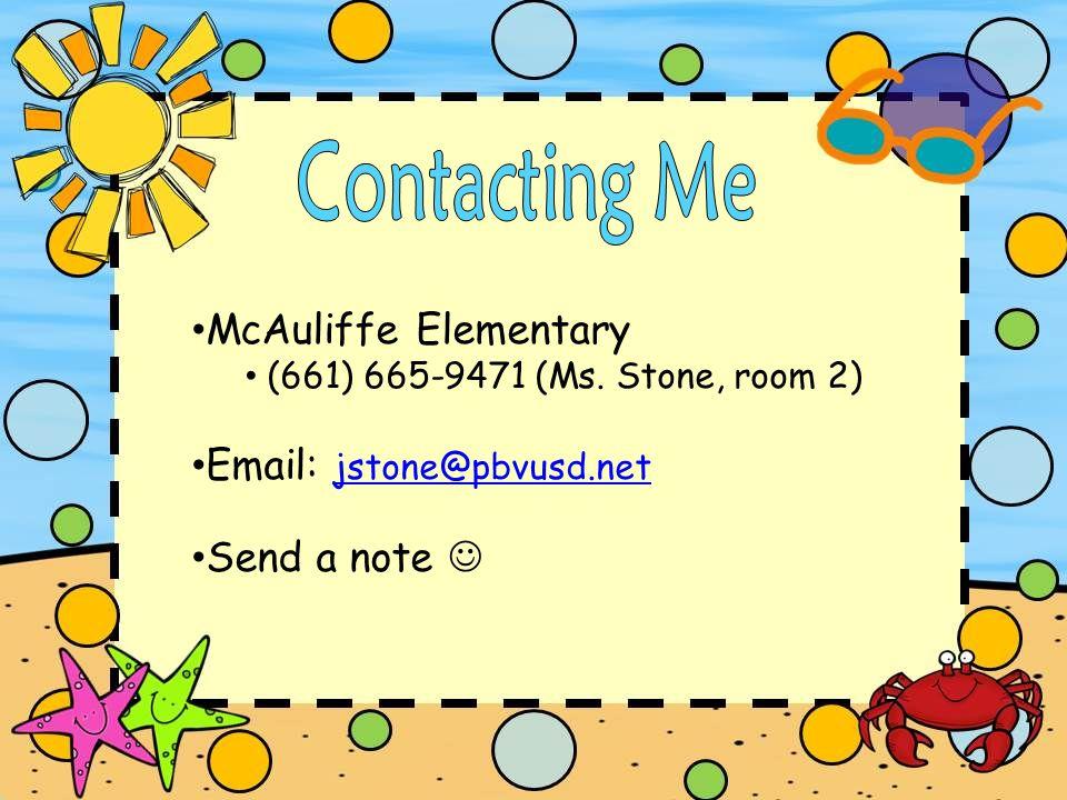 McAuliffe Elementary (661) 665-9471 (Ms.
