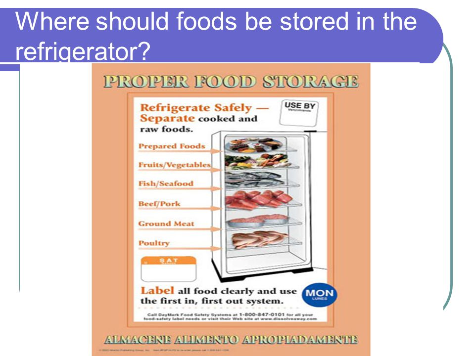 Where should foods be stored in the refrigerator