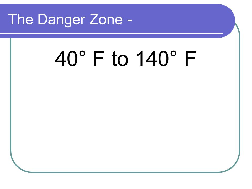 The Danger Zone - 40° F to 140° F