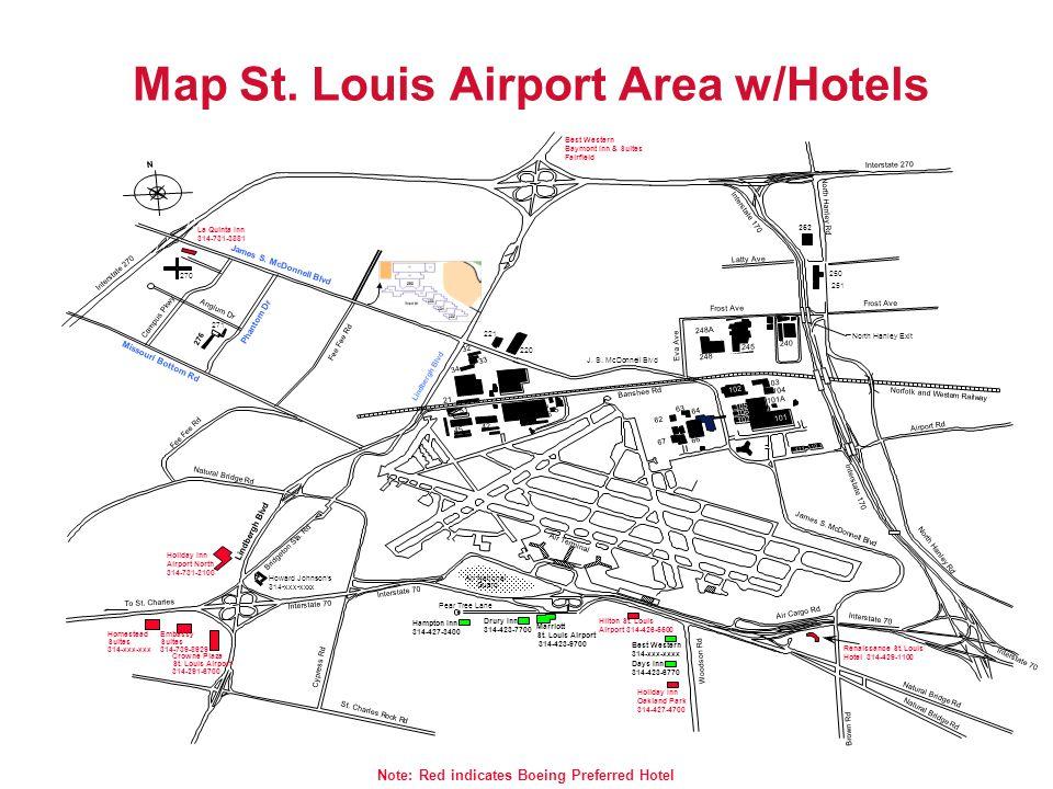 Map St. Louis Airport Area w/Hotels Air National Guard Air Terminal Marriott St. Louis Airport 314-423-9700 Drury Inn 314-423-7700 Pear Tree Lane Hilt
