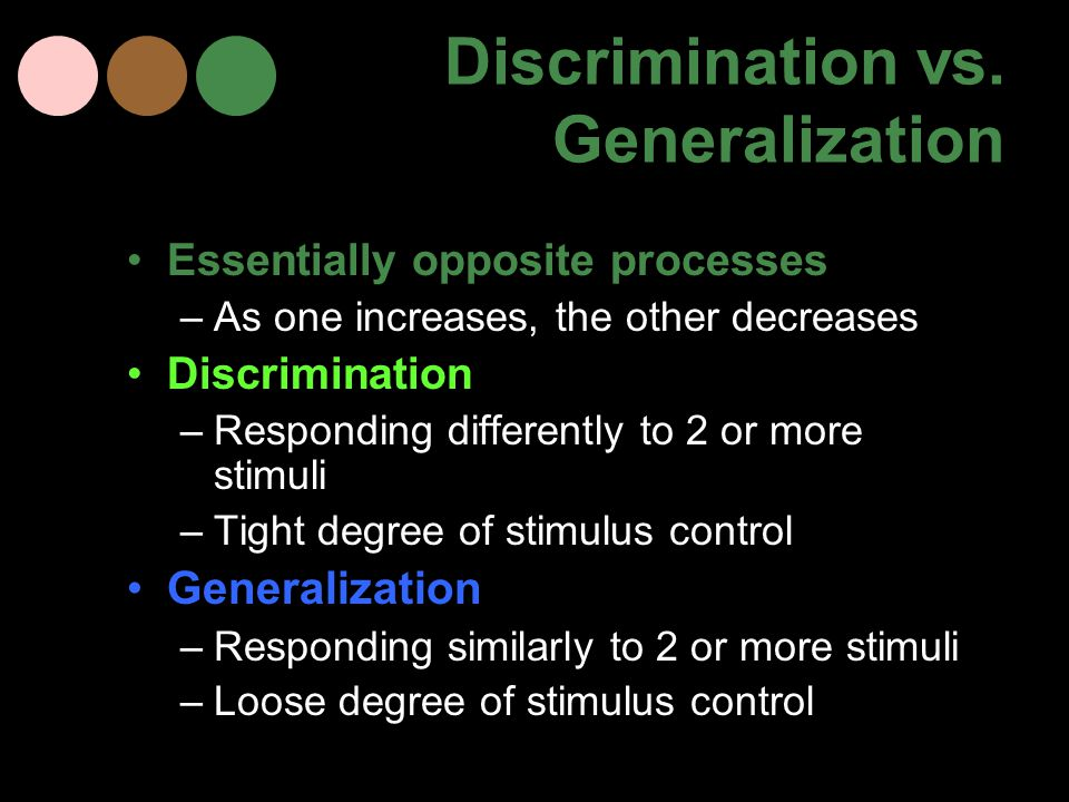 Discrimination vs. Generalization Essentially opposite processes –As one increases, the other decreases Discrimination –Responding differently to 2 or
