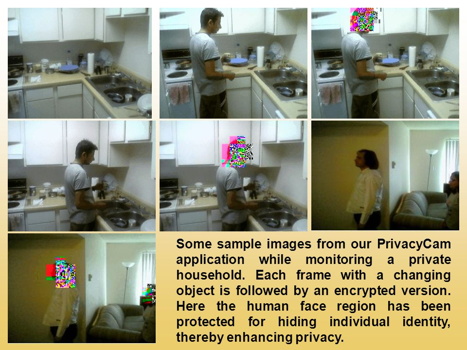 Some sample images from our PrivacyCam application while monitoring a private household.