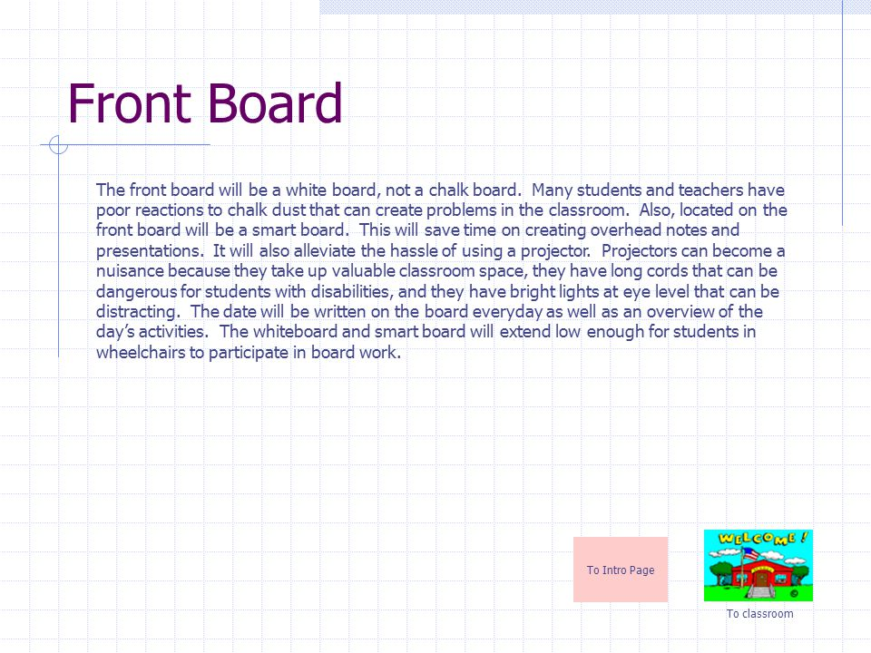 Front Board To Intro Page To classroom The front board will be a white board, not a chalk board.