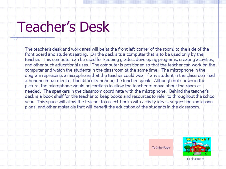 Bookshelf To Intro Page To classroom The book shelf is located in the front right corner of the classroom near the door.