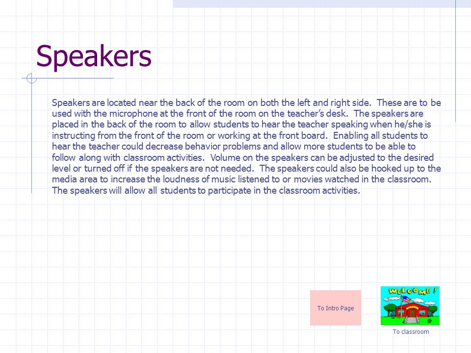 Speakers To Intro Page To classroom Speakers are located near the back of the room on both the left and right side.