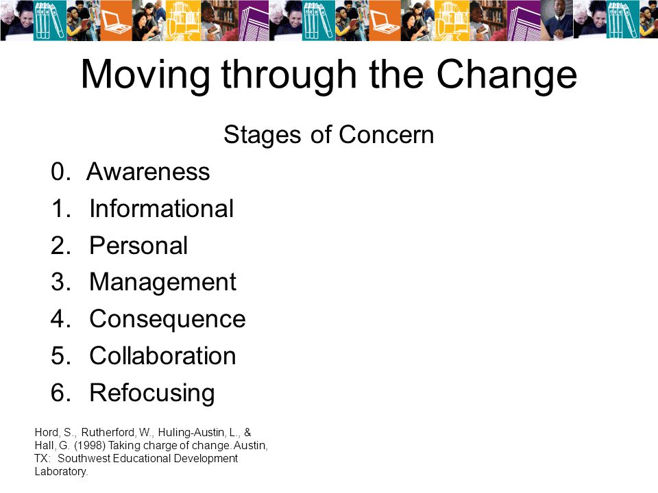 Moving through the Change Stages of Concern 0.