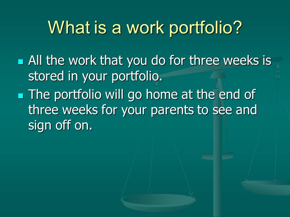 What is a work portfolio. All the work that you do for three weeks is stored in your portfolio.