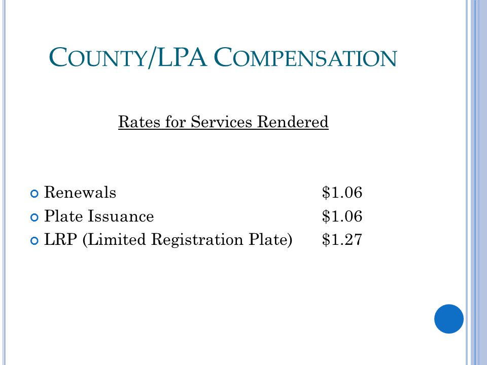 C OUNTY /LPA C OMPENSATION Rates for Services Rendered Renewals $1.06 Plate Issuance$1.06 LRP (Limited Registration Plate)$1.27