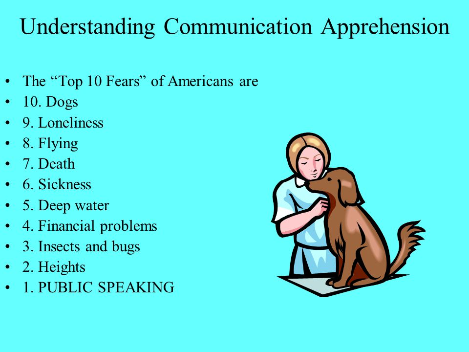 "Understanding Communication Apprehension The ""Top 10 Fears"" of Americans are 10. Dogs 9. Loneliness 8. Flying 7. Death 6. Sickness 5. Deep water 4. Fi"