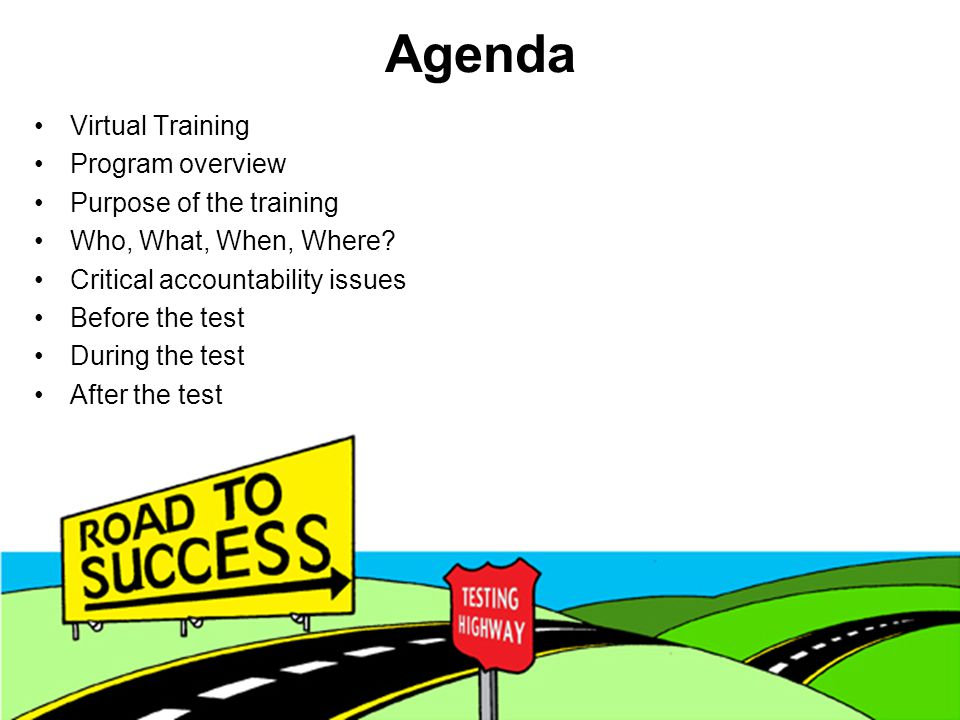 Agenda Virtual Training Program overview Purpose of the training Who, What, When, Where.