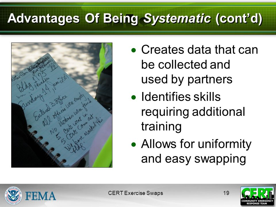Advantages Of Being Systematic (cont'd)  Creates data that can be collected and used by partners  Identifies skills requiring additional training  Allows for uniformity and easy swapping CERT Exercise Swaps19