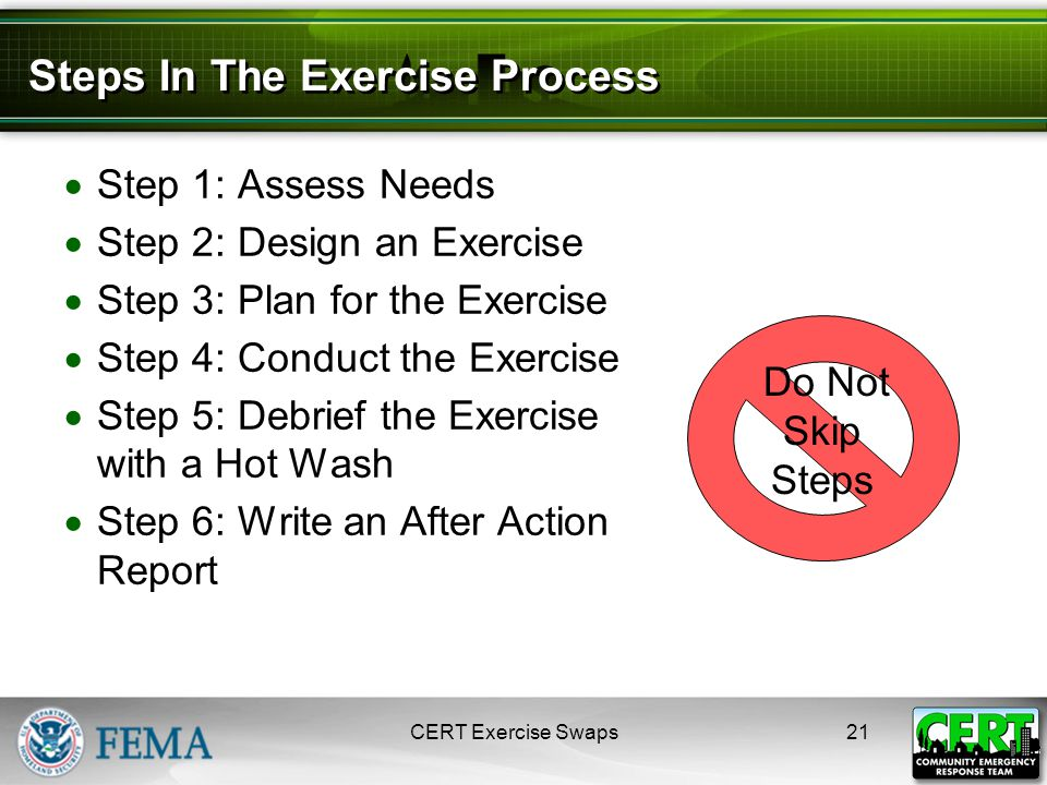 Steps In The Exercise Process  Step 1: Assess Needs  Step 2: Design an Exercise  Step 3: Plan for the Exercise  Step 4: Conduct the Exercise  Step 5: Debrief the Exercise with a Hot Wash  Step 6: Write an After Action Report CERT Exercise Swaps21 Do Not Skip Steps