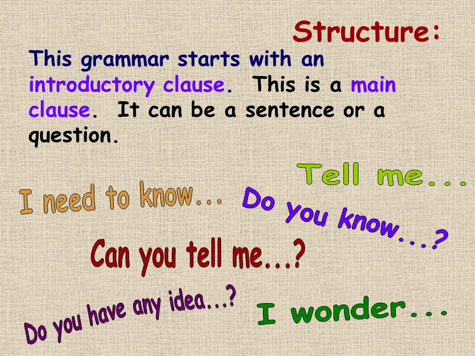 Structure: This grammar starts with an introductory clause.